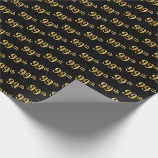 Black, Faux Gold 99th (Ninety-Ninth) Event Wrapping Paper