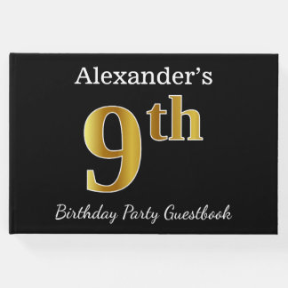 Black, Faux Gold 9th Birthday Party + Custom Name Guest Book