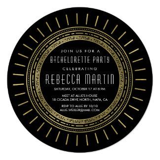 Black & Faux Gold Art Deco Bachelorette Party 13 Cm X 13 Cm Square Invitation Card
