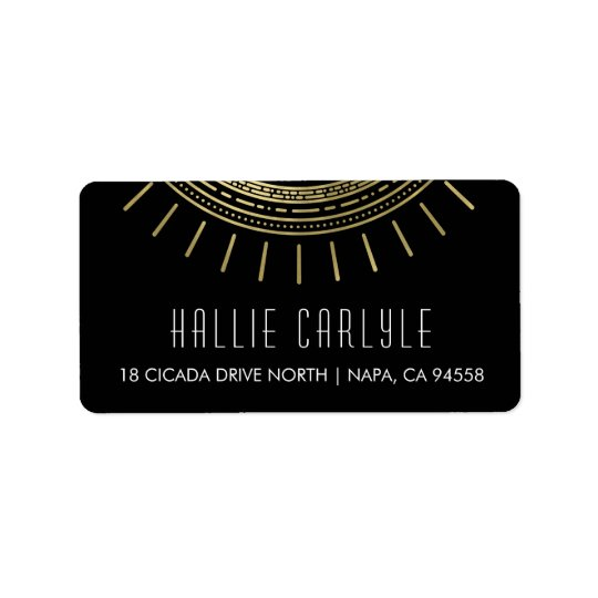Black & Faux Gold Art Deco Style Return Address Label