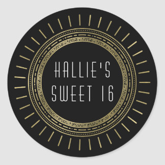 Black & Faux Gold Art Deco Style Sweet Sixteen Classic Round Sticker