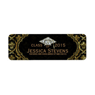 Black & Faux Gold Damasks & Glitter Grad Hat Return Address Label