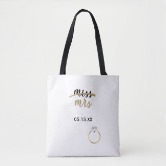 Black & Faux Gold Foil Miss Mrs. Name Date Wedding Tote Bag