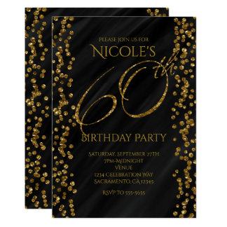 Black & Faux Gold Glitter Glam 60 60th Birthday Card