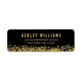 Black Faux Gold Glitter Return Address Label