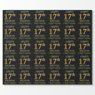 "Black, Faux Gold ""HAPPY 17th BIRTHDAY"" Wrapping Paper"