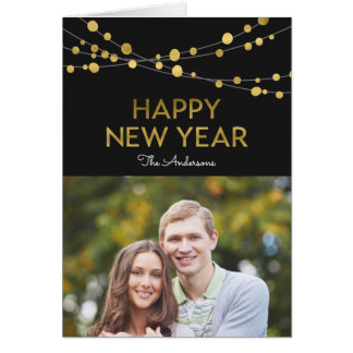 Black Faux Gold Happy New Year Lights Photo Card