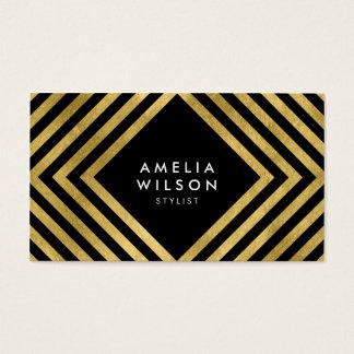 Black Faux Gold Stylist Social Media Elegant Business Card