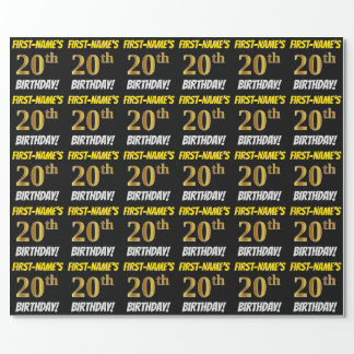 "Black, Faux/Imitation Gold, ""20th BIRTHDAY"" Wrapping Paper"