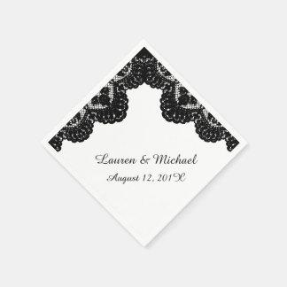 Black Faux Lace on White Wedding Paper Napkin