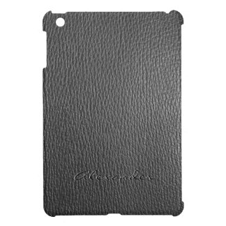 Black Faux Leather Look Monogram iPad Mini Covers