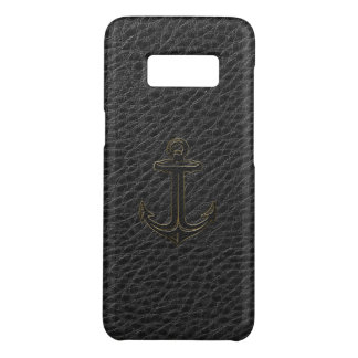 Black Faux Leather Nautical Boat Anchor Case-Mate Samsung Galaxy S8 Case
