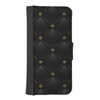 Black Faux Leather with Gold Fleur-de-lis Pattern Phone Wallets
