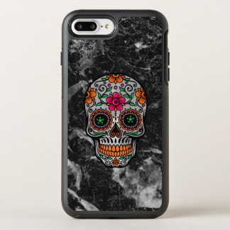 Black Faux Marble & Floral Sugar Skull OtterBox Symmetry iPhone 8 Plus/7 Plus Case