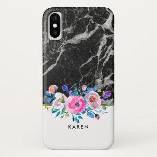 Black faux Marble Watercolors Flowers Bouquet iPhone X Case