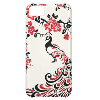 Black, faux red foil peacock & cherry blossoms iPhone 5C case