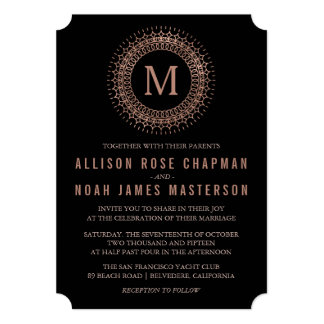 Black & Faux Rose Gold Deco Monogram Wedding Card