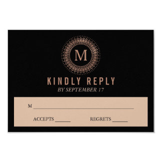 Black & Faux Rose Gold Deco Monogram Wedding RSVP Card