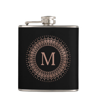 Black & Faux Rose Gold Elegant Initial Monogram Hip Flask