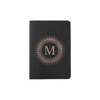 Black & Faux Rose Gold Elegant Initial Monogram Passport Holder