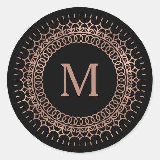 Black & Faux Rose Gold Medallion Monogram Classic Round Sticker