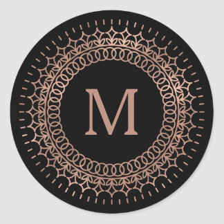 Black & Faux Rose Gold Medallion Monogram Round Sticker