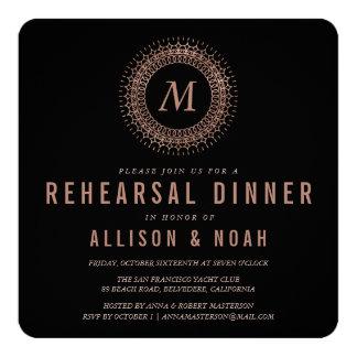 Black & Faux Rose Gold Monogram Rehearsal Dinner 13 Cm X 13 Cm Square Invitation Card