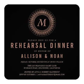 Black & Faux Rose Gold Monogram Rehearsal Dinner Card