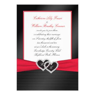 Black FAUX Satin Pleats Hearts Monogram Invite