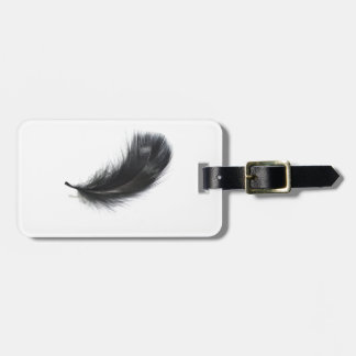 Black feather luggage tag
