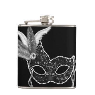 Black Feather Mask Mardi Gras Hip Flask