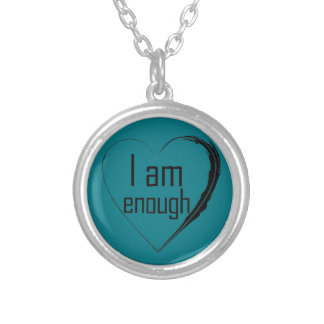 black feathered heart 'I am enough' Silver Plated Necklace