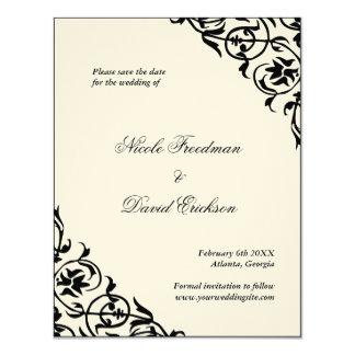 Black felt formal wedding save the date flat card 11 cm x 14 cm invitation card