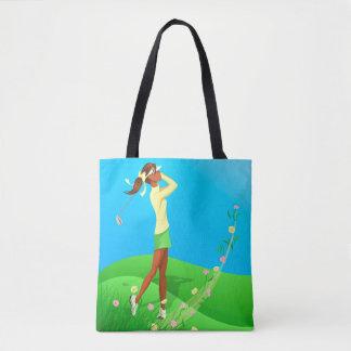 Black Female Golfer Flinging Flowers Tote Bag