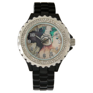 "Black Feminine clock with Strass ""Woman music "" Watch"