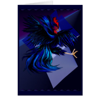 Black Fighting Rooster Card