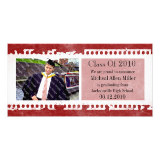 Black Film Frame Grunge Graduation Photo Card