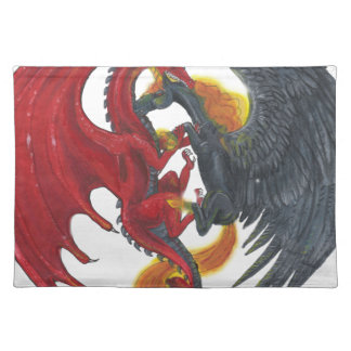 Black Fire Unicorn and Red Dragon Placemat