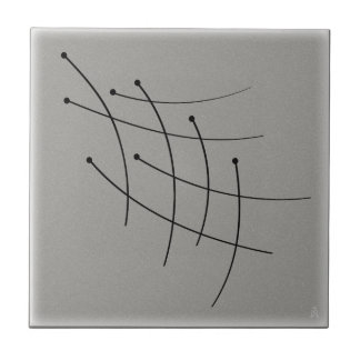 Black Firefly Trails on Gray Small Square Tile