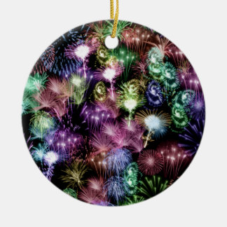Black Fireworks Ceramic Ornament
