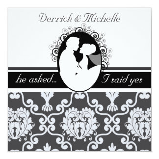 Black First Kiss Customized Wedding Invitation