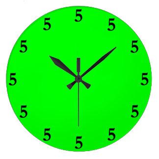 Black Five o'Clock Somewhere on Lime Green Clock