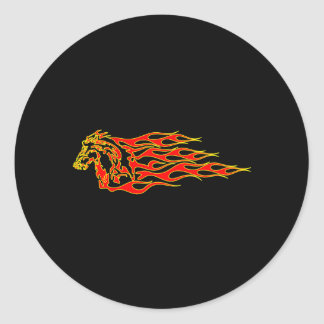 Black Flaming Mustang Horse Round Sticker