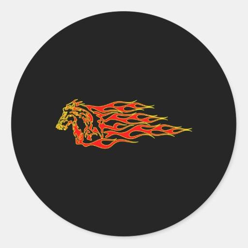 Black Flaming Mustang Horse Sticker