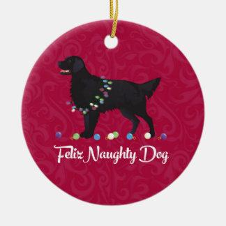 Black Flat Coated Retriever Feliz Naughty Dog Round Ceramic Decoration