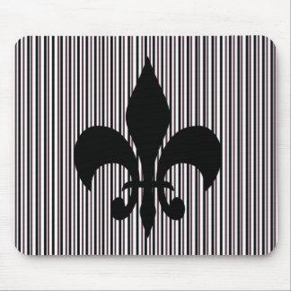 Black Fleur-de-lis Mousepad