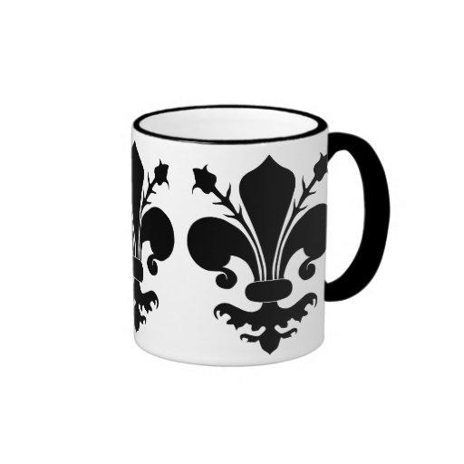 Black fleur de lis coffee mugs