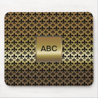 Black Fleur-de-lis on Gold Mouse Pad