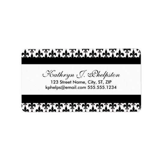 Black Fleur-de-lis Personalised Address Label