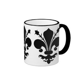 Black fleur de lis ringer mug